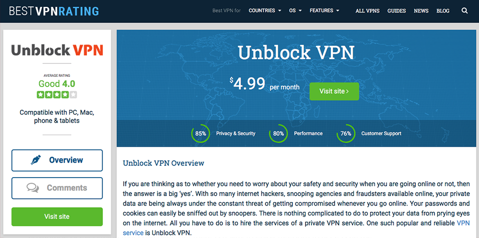 UnblockVPN review at Best VPN Rating.